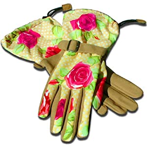 Womanswork 709S Rose Pattern Gauntlet Glove with Synthetic Leather Palm, Small