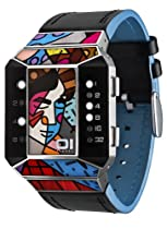 01TheOne Unisex SC124W1 Split Screen Romero Britto Art Blue Watch