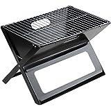 Barbecue pliable - à charbon - H/l/P : 45,5x42x3 cm - Noir - acier inoxydable et fer