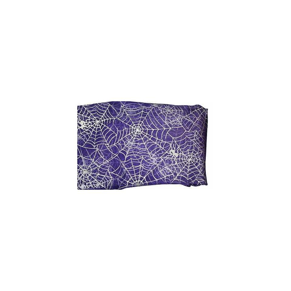 Sheer Purple Halloween Fabric with Metallic Silver Spider Web Design