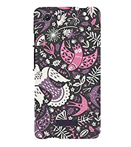 colourful birds in black background ethnic pattern 3D Hard Polycarbonate Designer Back Case Cover for MIcromax Canvas Unite 3 Q372