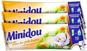 Minidou - Adoucissant en Doses - Pêche et Fleurs de Cerisier - Tripack 250 ml / 30 Lavages