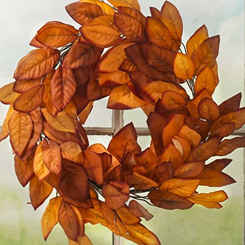 Factory Direct Craft Artificial Fall Magnolia Leaf Wreath for Home Decor and Designing