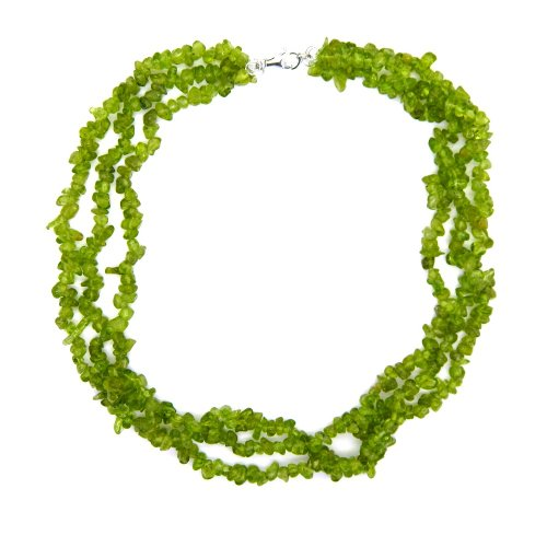 Sterling Silver Peridot Chips Bead Necklace 18-inches