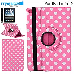 iPad Mini 4 Case, iTrendz Polka Dot Series - [360 Rotating][Flip][Smart Case] Hot Pink PU Leather Flip Case [Magnetic Closure] Smart Cover With Stand [Auto Sleep/Wake] For iPad Mini 4 (2015 Edition)