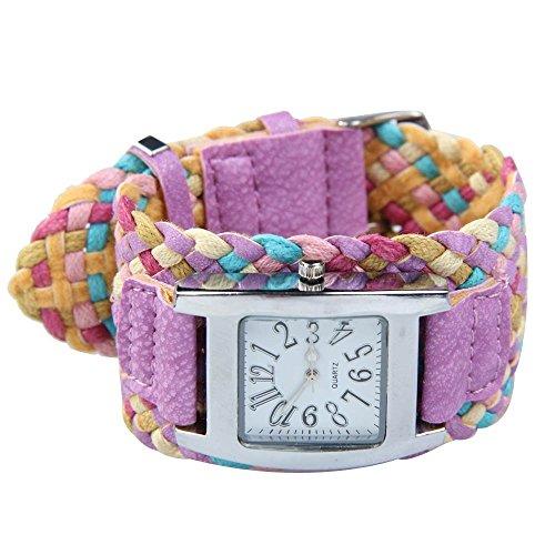 Dayan Antique Candy Color Braided Plaited Rope Strap Wrap Quartz Women Wristwatch Bracelet Purple