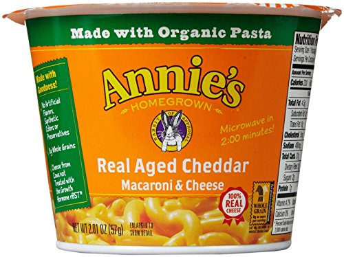 Annie's Homegrown Mac and Cheese Micro Cups: Single Pack - Real Aged Cheddar - 2.01 oz - 12 Pack