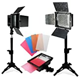 LimoStudio 2PC LED 160 Photographic Lighting Kit, Photo Studio Barndoor Light, Continuous Video Light, AGG1274