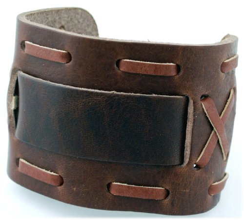 Nemesis Wide Brown Leather Cuff Wrist Watch Band