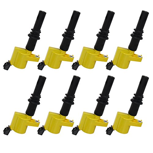 Carrep DG511 Yellow Ignition Coil Coils Pack (8) for Ford F-150 F150 F250 F350 F450 F550 Pickup V8 4.6l 5.6l (Ford Escape Lowering Spring compare prices)