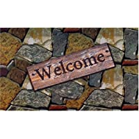 Achim Home Furnishings Outdoor Rubber Mat (Welcome Quarry Stones)