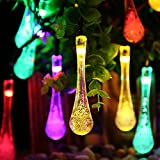Icicle Solar Outdoor String Lights Multicolor, 40 Led 24.6ft, Waterproof, 8 Mode Steady Flash, Water Drop Fairy Lighting for Garden, Patio, Lawn, Gazebo, Fence, Wedding, Holiday, Party Decoration