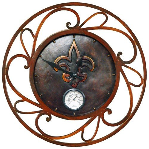 New Orleans Saints NFL Football Outdoor Round Clock Thermometer [Misc.]