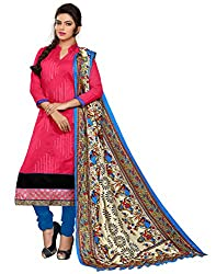 Latest Designer Collection Solid Embroided Festive Wear Cotton Pink Unstitched Branded Salwar Suit Dress Material for women girls ladies by Lookslady
