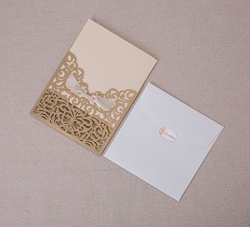 Wishmade 50 count square laser cut invitations cards kits for Wedding invitation kits 50 count