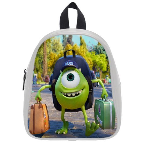 Generic Custom Monsters University Backpack Cases Printed White School Bag Backpack Fit Short Trip Pu Leather Small front-996188