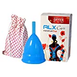 Alx Care 100% Silicone Reusable Soft Menstrual Cup (Size-1(UPTO 30 YRS), Blue Colour)