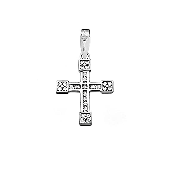 Cross 18k white gold 1.5mm carre zircons. [AA4584]