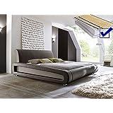 Polsterbett braun komplett Bett 160x200 + Lattenrost + Matratzen Doppelbett Designerbett Blain