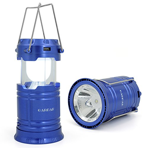 GARMAR Camping Lantern Flashlight, Solar Portable Outdoor LED lights, Rechargeable Bright Night Lamp for Hiking, Camping, Emergencies, Hurricanes, Outages. (Blue) (Camping Lamp Propane compare prices)