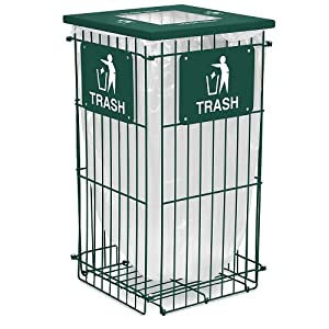 Clean Grid Collapsible Trash Can Square Opening Green Outdoor Composting Bins