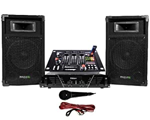Pack sono ampli enceintes 500w table de mixage amazon - Branchement enceinte amplifiee table mixage ...