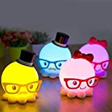 LED USB Cute Octopus Night Light Energy saving Baby Bedroom Lamp Gift Color Yellow