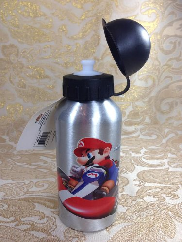 Licensed Kids School Lunch Sports Aluminium 14Oz Water Bottle With Pull Top - Mario