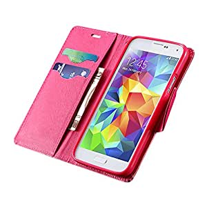 Samsung S5 Phone Galaxy WALLET CASE and PHONE STAND - Protects your Screen from Scratches Magnet that holds the Front Flap in Place Soft Synthetic Leather S5 Phone Case Exterior Dirt Resistant - (PINK)
