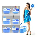 Easy Mop 360° Magic Mop ROTATING FAST SPINDRY WITH 2 MOP HEADS : Color may vary