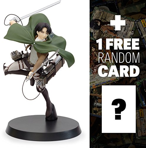"Levi Ackerman w/ 3D Maneuver Gear: ~7.8"" Sega Premium x Attack on Titan Figure + 1 FREE Official Japanese Attack On Titan Trading Card Bundle (1010374)"