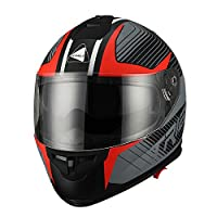 Triangle Matte Red Dual Visor Full Face Motorcycle Helmet [DOT] (Medium) by Zhejiang Jixiang Motorcycle Fittings Co., LTD