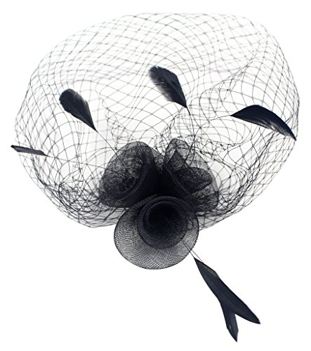 Womens Elegant Formal Party Flower Feather Veil Hair Clip and Brooch Fascinator