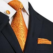 """Landisun Paisley Mens Silk Tie Set: Necktie+Hanky+Cufflinks 44G Bright Orange, 3.75""""Wx59""""L"""
