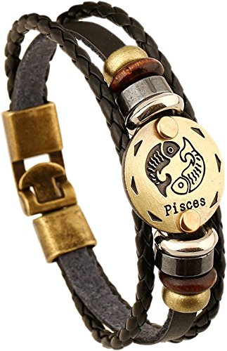 HCHIDS Men Fashion Alloy Leather Constellation Braided Rope Bracelet(Pisces)
