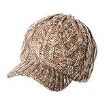 ゴルフ ウール おしゃれ 手編み 防寒 ニット ベレー 帽子 キャスケット ニット帽 レディース  秋冬 キャップ つば付き 小顔 キャメル
