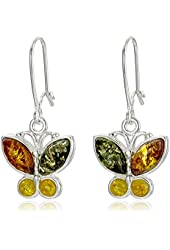 Multicolor Amber Sterling Silver Butterfly Marquise-Shaped Dangle Earrings