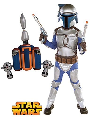 Kid's Jango Fett Star Wars Deluxe Costume Blasters And Jetpack Bundle