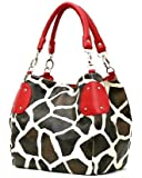 Red Large Vicky Giraffe Print Faux Leather Satchel Bag Handbag Purse