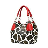 Red Large Vicky Giraffe Print Faux Leather Satchel Bag Handbag Purse ~ Sarahs Boutique