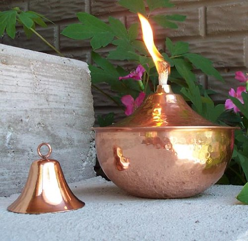 Maui Tabletop Torch Oil Lamp With Snuffer Hammered Copper 8 Inch Outd
