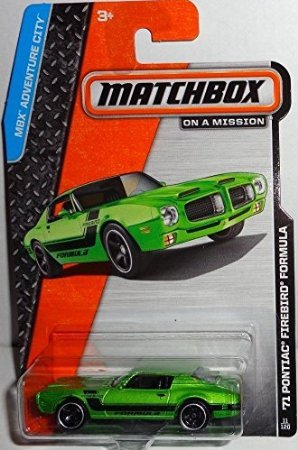 2014 Matchbox MBX Adventure City '71 Pontiac Firebird Formula - Green - 1