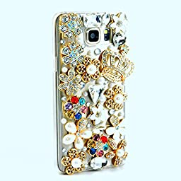 Samsung Galaxy Note 5 Case, Sense-TE Glamour Crystal [3D Handmade] [Sparkle Glitter] LOVE Crown Flowers Floral Pearl Diamond Rhinestone Clear Cover with Retro Bowknot Anti Dust Plug