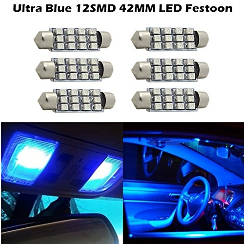 Partsam For 2007-2013 Gmc Acadia 6 X Car Dome 3528 Smd Led Canbus Bulb Light Interior Festoon Led 42Mm Blue