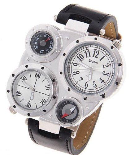 Oulm メンズ 腕時計 コンパス+温度計 付き スポーツ アーミー ウォッチ クールキャンプ セクション クォーツ時計(並行輸入品)