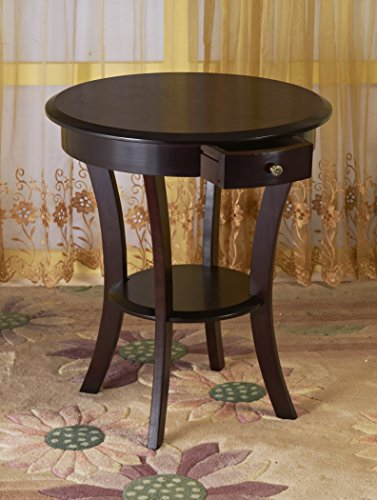 Frenchi Home Furnishing Frenchi Furniture Wood Round Table with Drawer & Shelf ,Espresso ... (Side Table Espresso Curved Legs compare prices)