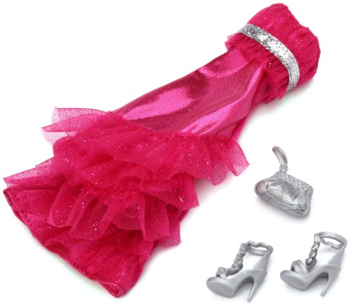 1 X Barbie Gown Fashions - Hot Pink Sparkle Bow Dress with Silver Shoes - 1