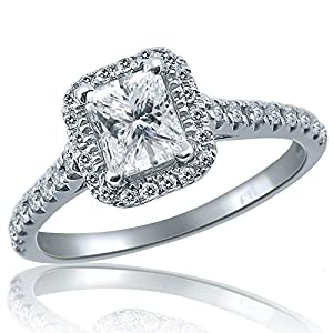 0.84 Carat Natural Princess Cut Raised Halo Diamond Engagement Ring 14K White Gold