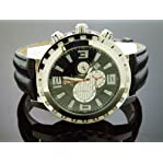 Aqua Master Round 50mm 24 Diamonds Watch Stainless Steel Case & Black Face