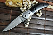 Handmade Damascus Folding Knife - Pocket Knife with Liner Lock - Outstanding Value